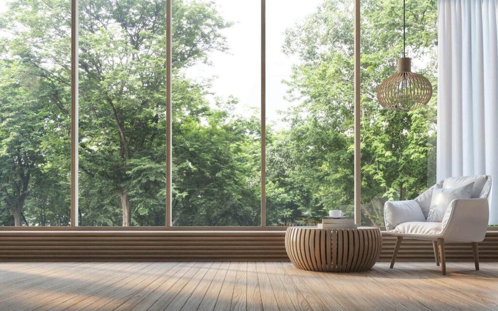 Raum mit Glasfront